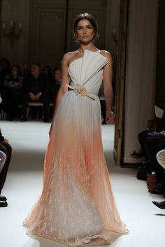 "Georges Hobeika Peach and White Dress with Floral Belt and Bold ""Origami"" Bodice Detail"