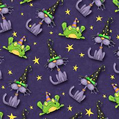 Purple Cats and Frogs.  Wicked Collection. GSMDsigns