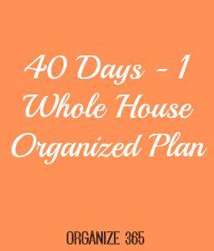 40 Days - 1 Whole House Organized Plan | Organize 365