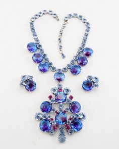 Vintage SCHREINER New York Inverted & cushion-cut rhinestone necklace & earring set--SIGNED -- selling @ $2995.