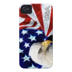 American Flag with Bald Eagle Patriotic Case-Mate iPhone 4 Cases. #veteransday