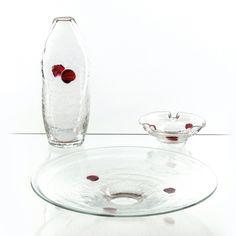 Jaroslav Taraba, applied design - the set of table glass, 70s, glassworks Lednicke Rovne, Czechoslovakia