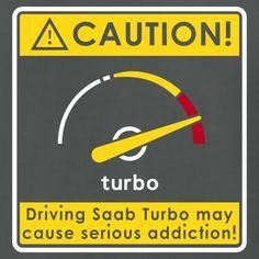 Saab addiction caution - Men's T-Shirt by American Apparel