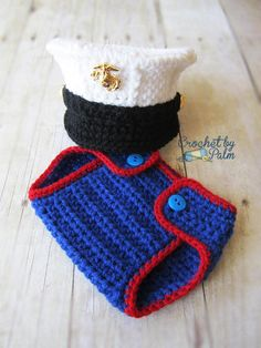Crochet Marine Corps Blues Cover and Diaper cover... Seriously too cute!