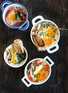 """Oeufs en cocottes [French for """"eggs baked in little dishes or pots""""] are my new favorite thing to eat. A traditional French dish that is elegant and simple. Classics are classi… Paleo Recipes Easy, Egg Recipes, Brunch Recipes, Breakfast Recipes, Cooking Recipes, Breakfast Ideas, Appetizer Recipes, Dinner Recipes, French Eggs"""