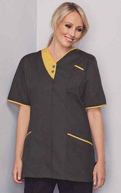 The zip front tunic is a different take on the classic tunic, ideal for beauty and healthcare workplaces and a great way to update staff uniforms. Dental Uniforms, Staff Uniforms, Beauty Tunics, Beauty Uniforms, Fabric Weights, Fitness Fashion, Work Wear, Lilac, Chef Jackets