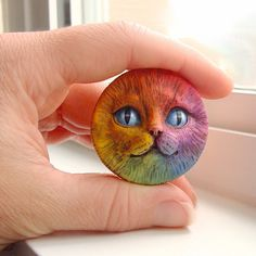 Rainbow Cat Face Cab 40mm Round Kitty Kitten Animal Pet Bright Colorful Polymer Clay Cabochon roygbiv Red Yellow Orange Blue Purple 2697. $12.00, via Etsy.