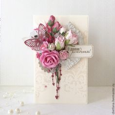 60 Ideas Craft Paper Flowers Handmade Cards For 2019 Butterfly Cards, Flower Cards, Paper Flowers, Craft Flowers, Handmade Birthday Cards, Greeting Cards Handmade, Creative Cards, Vintage Cards, Diy Cards