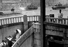 """""""This is the best picture I made in Korea of civilians — a family running down stairs, a father holding a baby, tanks firing away. Those tanks are taking fire from North Koreans right down the street!"""" — David Douglas Duncan: LIFE in the Korean War Syngman Rhee, Korean President, Horror, War Photography, Classic Photography, Artistic Photography, Family Photography, Korean People, Famous Photographers"""