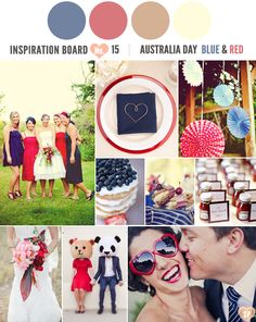 It's Australia Day and I've put together an Australia Day inspired inspiration board filled with a red and blue colour palette that would be perfect for any Inspiration Boards, Wedding Inspiration, Wedding Ideas, Blue Colour Palette, Colour Palettes, Aboriginal Culture, Australia Day, Time To Celebrate, Color Themes
