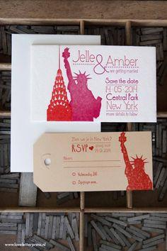 loveletterpress trouwkaart new york