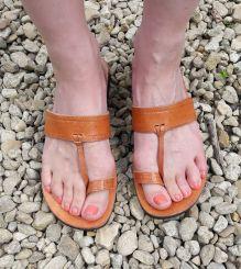 Tan Toe Post Leather Sandal