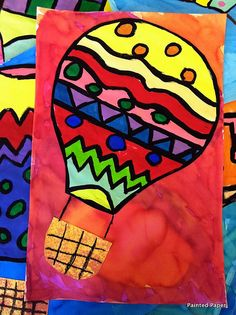 Grade, hot air balloons, pattern, watercolor and tempera painting - square 1 art? Square One Art, Elementary Art Lesson Plans, 2nd Grade Art, Fourth Grade, Ecole Art, Kindergarten Art, Spring Art, Painted Paper, Hot Air Balloon