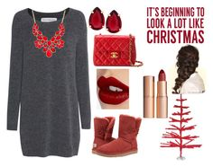 """Red christmas"" by mikage44 on Polyvore featuring Fine Collection, Sixtrees, UGG Australia, T Tahari, Style & Co., Chanel, Disney and Charlotte Tilbury"