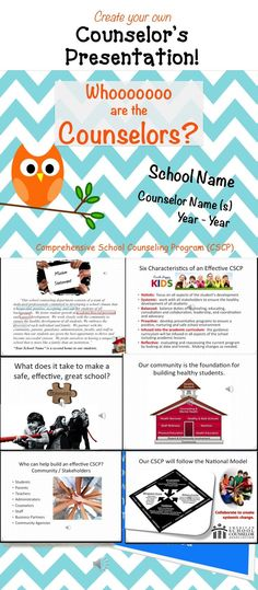 Interactive presentation for School Counselors.  Includes transitions and sounds.  Let them know what you do!