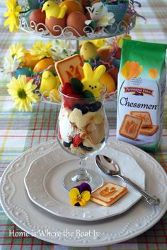 Easter Peeps Parfait - layered a blend of lemon curd and reduced fat cream cheese w crumbled Pepperidge Farm Chessman Cookies, whipped cream & berries.  Can substitute pudding and use any cookie, angel food or pound cake for a Peeps Pudding Parfait.  Garnish with a Peep :)