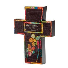 Demdaco Colorful Devotions He Makes All Things New Cross -- For more information, visit now : Home Decor Wall Pediments