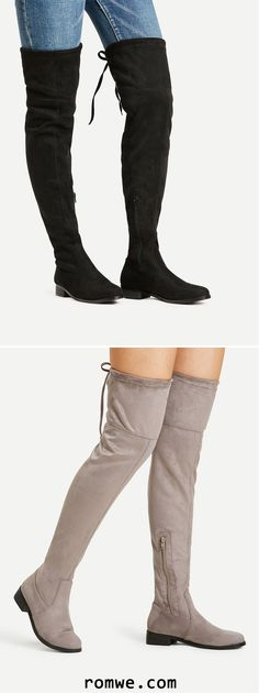 Almond Toe Lace Up Over The Knee Boots