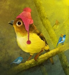 I love this little birdie in the hat.