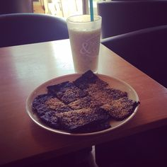 Protein brownies with banana smoothie #foodeverywhere