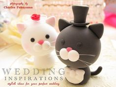 Cat Wedding Cake Toppers (I don't think andrew would go for it, but I want them anyways)