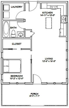 Small 5 Bedroom House Plans Best Of House 1 Bedroom 1 Bath Pdf Floor Plan 720 Sq – modern courtyard house plans 1 Bedroom House Plans, Guest House Plans, Cottage Floor Plans, Small House Floor Plans, Cottage Plan, Cabin Plans, Shed Plans, 20x30 House Plans, Simple Floor Plans