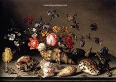 Still Life with Flowers, Shells and Insects, Balthasar van der Ast – 7 March was a Dutch Golden Age painter who specialized in still lifes of flowers and fruit Horst Janssen, Delft, Dutch Still Life, Seashell Painting, Still Life Fruit, Dutch Golden Age, Painting People, Dutch Painters, Painting Still Life