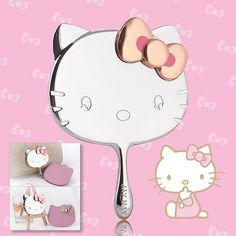 58b6bae54 Hot Hello Kitty Makeup Mirror Pocket Handheld Silver Portable Leather Bag  Head Hello Kitty Makeup,