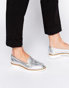 KG+By+Kurt+Geiger+Silver+Leather+Tassel+Loafer+Shoes