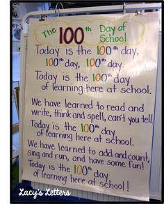 100th Day of School poem