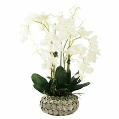 "Add a natural touch to your entryway console table or living room mantel with this eye-catching faux floral arrangement, showcasing Vanda orchids in an eye-catching ceramic pot.  Product: Faux floral arrangement Construction Material: Silk, polyester, bamboo and ceramicColor: White, green and light greenFeatures:  Includes faux Vanda orchidsHandmadeDimensions: 35"" H x 27"" Diameter Note: Indoor use only"