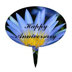Beautiful lotus flowers anniversary cake toppers