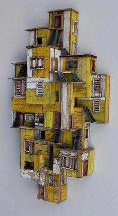 Eric Cremers – Shades of yellow – Eric Cremers – Shades of yellow – - Assemblage Art Cardboard City, Cardboard Crafts, Sculptures Céramiques, Wood Sculpture, Karton Design, Assemblage Art, Driftwood Art, Miniature Houses, Shades Of Yellow