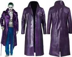 """Suicide Squad Jared Leto Joker Purple Long Coat For Men Created by """"Top Leather Factory."""" Made from Crocodile Embossed Real Leather Worn by Jared Leto as Joker in Movie Suicide Squad.  You can wear this Stylish Coat in Clubs, Parties, and Concerts. Available at Our Online Store in $134.99 Only.  #suicidesquad #jaredleto #joker #movies #halloween #lovers #fans #boysfashion #boyscollection #menfashion #shopping #hot #sexy #stylish #costume #menclothing #menJacket #superhotfashion #parties…"""