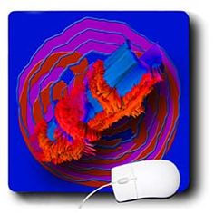 A red, pink and blue design made my squiggly lines and a 3D plane Mouse Pad