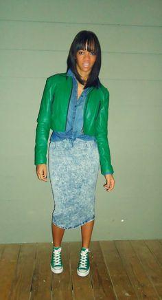 High Waist Denim Midi Skirt, Converse Chuck