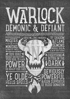 World of Warcraft / Roleplaying Medieval / Fantasy Inspired Type Print - WARLOCK Edition Super cool World of Warcraft photos Dota Warcraft, Warcraft Art, World Of Warcraft, Dungeons And Dragons, Citations Photo, Game Design, Book Design, Cover Design, Wow World