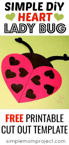 See this post for a FREE printable template to make your own Valentine's Day Lady Bug! This simple DIY Lady Bug Valentine's Day card is an easy craft for toddlers, big kids and adults to make. Great for classroom Valentine's Day art projects. #ValentinesDayCard #ValentinesDayCrafts Arts And Crafts For Adults, Art Projects For Adults, Toddler Art Projects, Valentine's Day Crafts For Kids, Easy Art Projects, Craft Kids, Arts And Crafts Storage, Diy Arts And Crafts, Crafts Cheap
