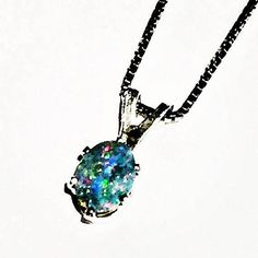 Blue Opal Necklace In Sterling Silver Handmade Jewelry By