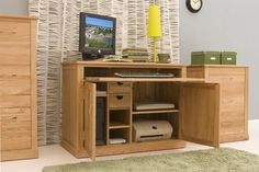 our best selling hidden home office computer desks from our mobel oak wood range atlas oak hidden home