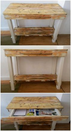 This is another one of the simple and fabulous creation of the wood pallet that is build up in the effect of the table design. This table is often set together with the adjustment of the pallet shelving unit that is resting over the downside area of the table. It look classy.