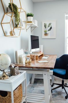 Trying to redesign your work from home space? We've got you covered at World Market. From desks to chair to wall organization and more, all at a cost friendly price point! Cozy Home Office, Home Office Setup, Home Office Design, At Home Office Ideas, Design Desk, Office Inspo, House Design, Small Space Office, Home Office Space