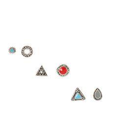 Sterling Silver Multi Shape Red & Blue Earring Pack