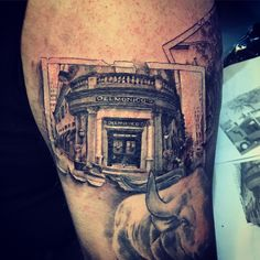 Delmonico's Restaurant tattoo, Financial District, New York 1st Fine dining restaurant in the United States