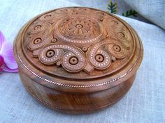 Jewelry box wooden box wood box ring box carved by HappyFlying