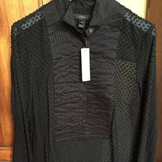 JCrew top Long sleeve bib tuxedo shirt with sheer body. New with tags! Perfect for those holiday parties! J. Crew Tops