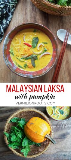 Malaysian Laksa Noodle Soup with Pumpkin (vermilionroots.com). A spicy noodle soup with a coconut milk curry base. Pumpkin or other similar winter squash like kabocha and butternut adds solidity to this vegetarian version.