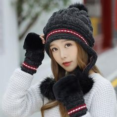63db024ad4902 Fashion Women's Winter Hat Female Fur Knitted Hat With Gloves Set Pompoms  Ball Beanie Cap Thick Beanie Gorros Bonnet Femme Hat