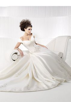 White and Gold Wedding. Sweetheart Corset Ballgown Dress. off shoulder, cathedral length train. private label by G.