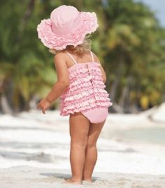 Kate Mack Swimwear 2012 Pink Ruffles 2 Piece SwimsuitMatching Hat Also AvailableNow In Stock3 to 24 Months (I could totally make this! It is sooooo cute!)